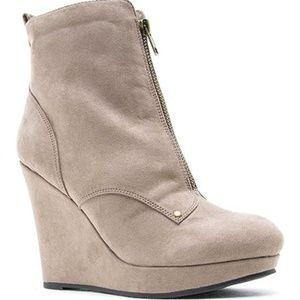 Zipper Front Wedge Boots